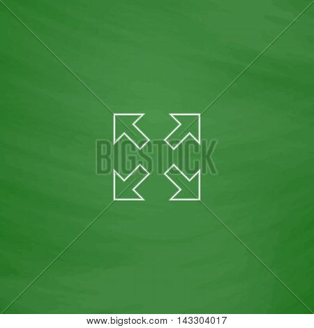 four arrows Outline vector icon. Imitation draw with white chalk on green chalkboard. Flat Pictogram and School board background. Illustration symbol