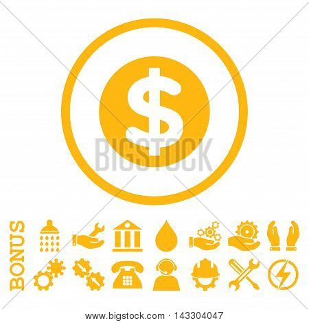 Finance glyph icon. Image style is a flat pictogram symbol inside a circle, yellow color, white background. Bonus images are included.