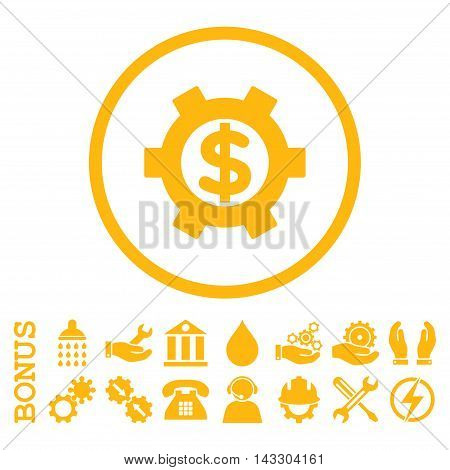 Financial Settings glyph icon. Image style is a flat pictogram symbol inside a circle, yellow color, white background. Bonus images are included.