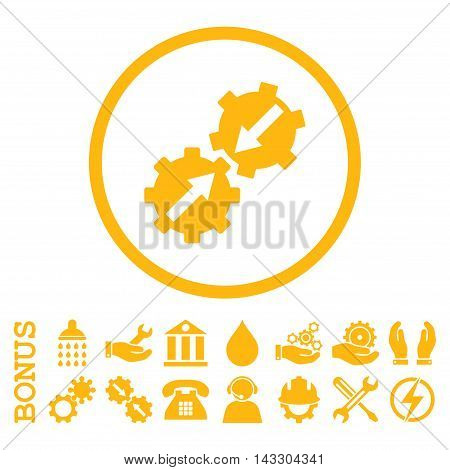 Gear Integration glyph icon. Image style is a flat pictogram symbol inside a circle, yellow color, white background. Bonus images are included.