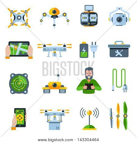 New technologies flat icon set with people addictive electronic technology isolated and colored vector illustration