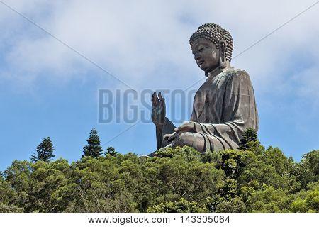 outdoor statue of Big Tian Tan Buddha on Lantau Island Hong Kong China