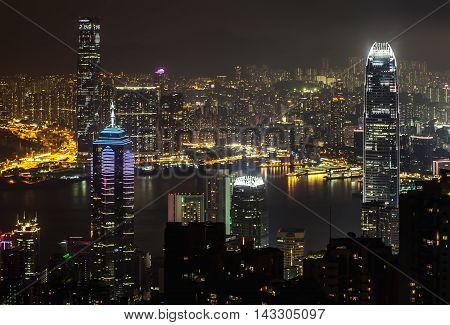 Night View Of Hong Kong From Peak Of Victoria