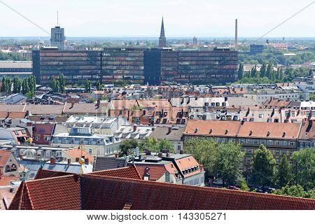 Munich Germany. Aerial view from the New Town Hall. EPO (European Patent Office) building inthe distance. Munuch is the capital and largest city of the German state of Bavaria.