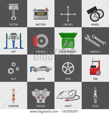 Car service icons set with repairmen auto details instruments on black and white backgrounds isolated vector illustration