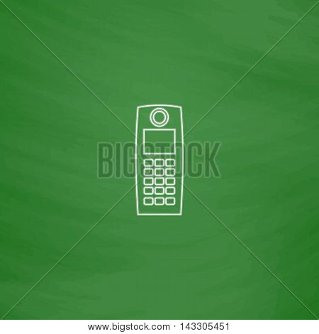 walkie talkie Outline vector icon. Imitation draw with white chalk on green chalkboard. Flat Pictogram and School board background. Illustration symbol
