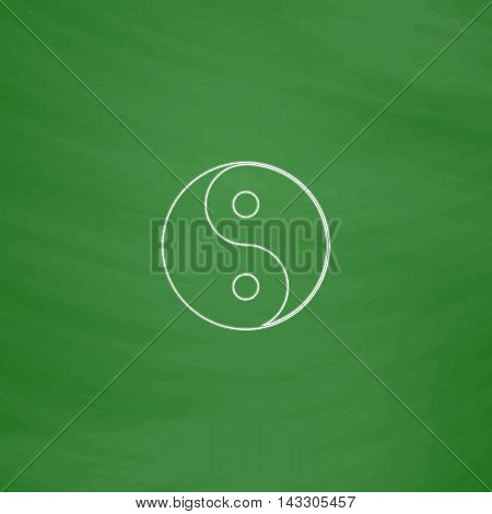 Ying yang Outline vector icon. Imitation draw with white chalk on green chalkboard. Flat Pictogram and School board background. Illustration symbol
