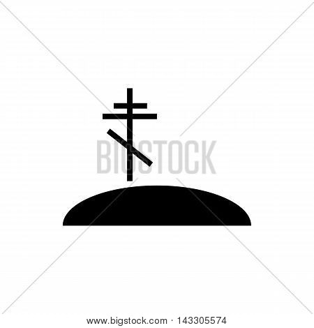 Grave with cross icon in simple style on a white background