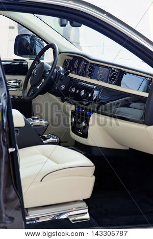 MUNICH GERMANY - 4 AUGUST 2015: Rolls Royce Ghost on display at BMW World in Munich Germany