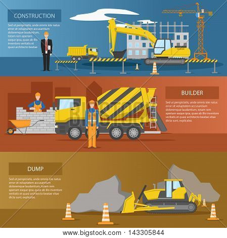 Construction horizontal banners set with process of facility creation work of builders dump isolated vector illustration