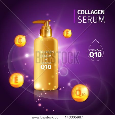 Gold Collagen Serum tubes poster with realistic tube of cream with vitamins vector illustration