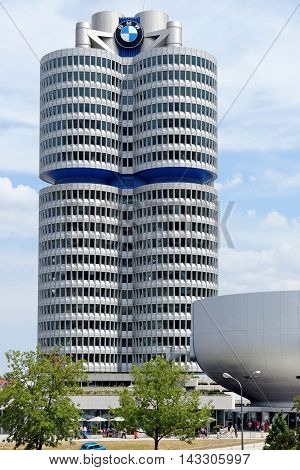 MUNICH GERMANY - 4 AUGUST 2015: BMW Headquarters and Museum. The Museum deals with the history of the automobile manufacturer BMW. It is designed by Karl Schwanzer.
