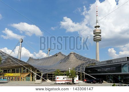 MUNICH GERMANY - AUGUST 4 2015: Olympic Tower (Olympiaturm) in Olimpiapark. It was built for the 1972 Summer Olympics. It has an overall height of 291m and a weight of 52500 tons.