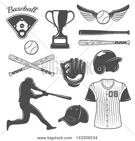Baseball monochrome elements set with player emblems of game and sports outfit trophy isolated vector illustration