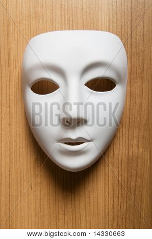 Theater concept with the white plastic masks