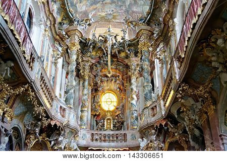 MUNICH GERMANY - AUGUST 4 2015: Interior of Asamkirche(St. Johann Nepomuk). The church was built in 1733-1746 and is considered to be one of the main representatives of southern German Late Baroque.