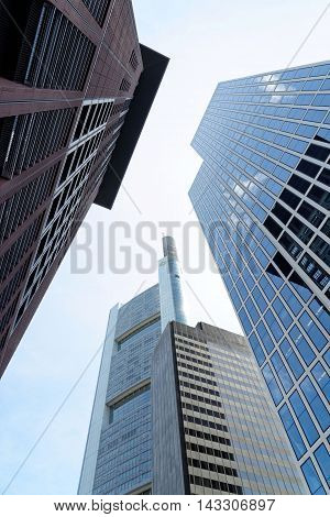 FRANKFURT AM MAIN GERMANY - AUGUST 6 2015: Japan Center Commerzbank Taunus Tower. It is a dynamic and international financial and trade city with the most imposing skyline in Germany.