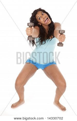 African American Woman Hold Weights Out Funny