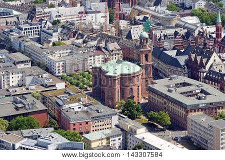 Aerial view of Paulskirche (St. Paul's church) from the Main tower Frankfurt am Main Germany.