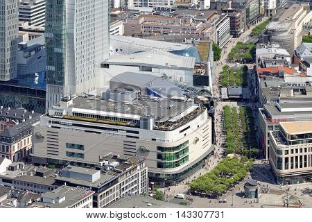 FRANKFURT AM MAIN GERMANY - AUGUST 6 2015 : Skyline of Frankfurt city with a view of the Zeil main shopping market street