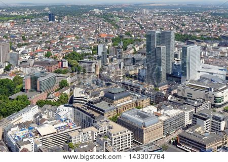 Aerial view of Frankfurt am Main Germany from the observation platform of Main Tower. Frankfurt is the largest financial centre in continental Europe.