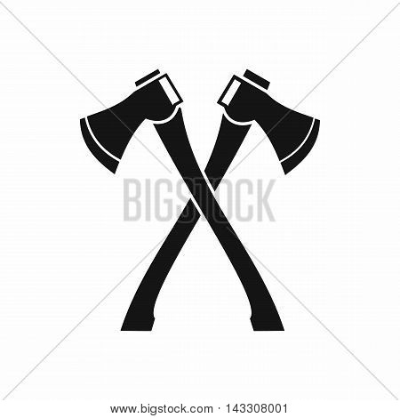 Two crossed axes icon in simple style on a white background