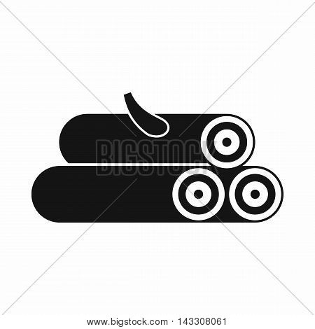 Wooden logs icon in simple style on a white background