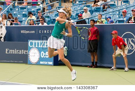 Mason Ohio - August 13 2016: Eugenie Bouchard in a qualifying match versus Carina Wittoeft at the Western and Southern Open in Mason Ohio on August 13 2016