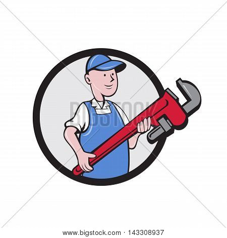 Illustration of a mechanic cradling holding giant pipe wrench looking to the side viewed from front set inside circle on isolated background done in cartoon style.