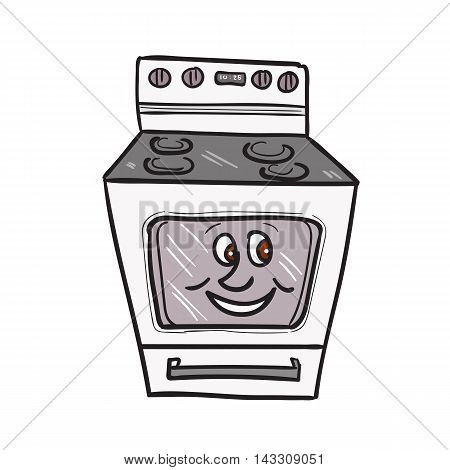 Illustration of an oven with smiley face viewed from front set on isolated white background done in cartoon style.