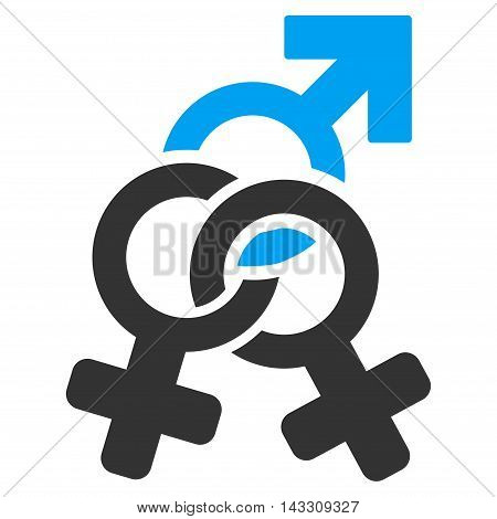 Double Mistress icon. Vector style is bicolor flat iconic symbol with rounded angles, blue and gray colors, white background.