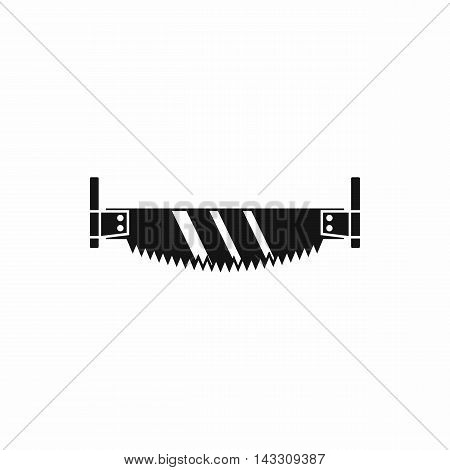 Two handled saw icon in simple style on a white background