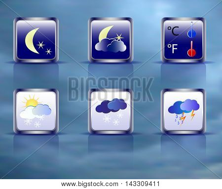 Set of weather square icons on a background of sky. Six weather icons with moon, clouds, sun and thermometer