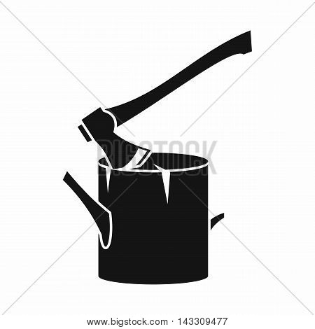 Axe stuck in a tree stump icon in simple style on a white background