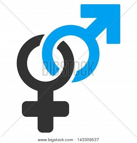 Heterosexual Symbol icon. Vector style is bicolor flat iconic symbol with rounded angles, blue and gray colors, white background.