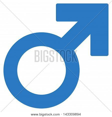 Mars Symbol icon. Vector style is flat iconic symbol with rounded angles, smooth blue color, white background.