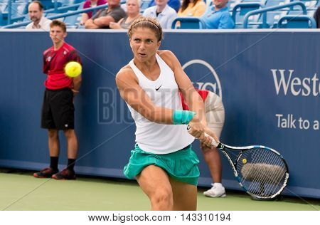 Mason, Ohio - August 15, 2016: Sara Errani in a first round match at the Western and Southern Open in Mason, Ohio, on August 15, 2016.