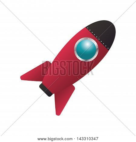 flat design colorful toy rocket icon vector illustration