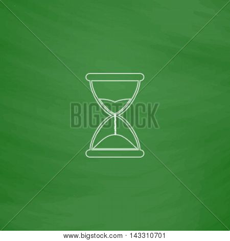 hourglass Outline vector icon. Imitation draw with white chalk on green chalkboard. Flat Pictogram and School board background. Illustration symbol