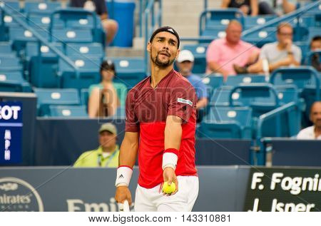 Mason Ohio - August 16 2016: Fabio Fognini in a match at the Western and Southern Open in Mason Ohio on August 16 2016.
