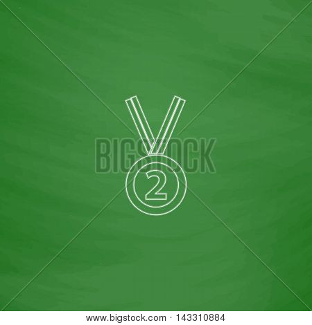 silver medal Outline vector icon. Imitation draw with white chalk on green chalkboard. Flat Pictogram and School board background. Illustration symbol