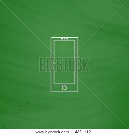 cellphone Outline vector icon. Imitation draw with white chalk on green chalkboard. Flat Pictogram and School board background. Illustration symbol