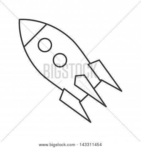 flat line design toy rocket icon vector illustration