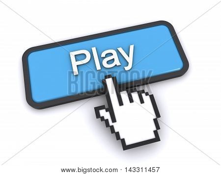 3d rendering of a cursor clicking on the play button