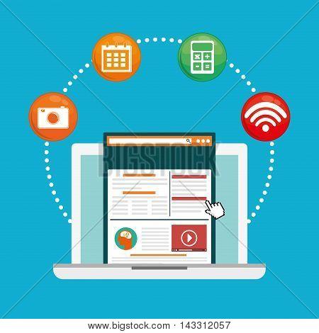 laptop social media technology digital app icon set. Flat illustration. Vector illustration