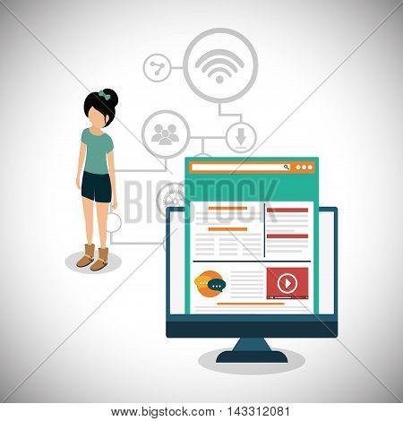computer girl social media technology digital app icon set. Flat illustration. Vector illustration