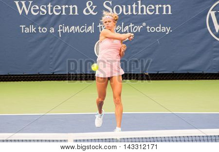 Mason Ohio - August 13 2016: Camila Giogi in a qualifying match at the Western and Southern Open in Mason Ohio on August 13 2016.