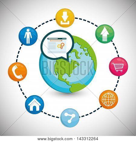 planet earth social media technology digital app icon set. Flat illustration. Vector illustration