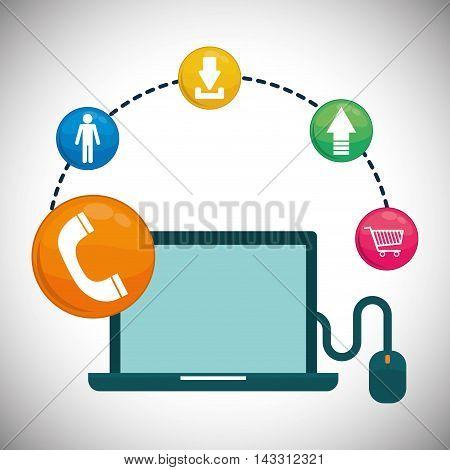 laptop mouse social media technology digital app icon set. Flat illustration. Vector illustration