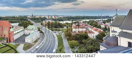 Panorama of Vistula river in Warsaw view from Old Town Poland